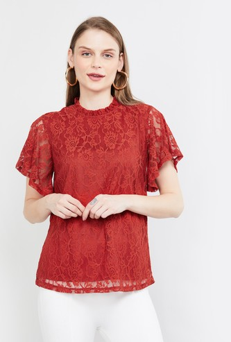 MAX Flared Sleeves Floral Lace Top