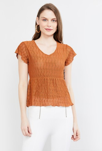 MAX V-neck Lace Top