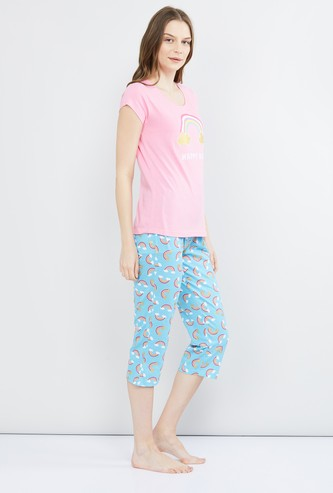 MAX Rainbow Print Lounge T-shirt with Capris