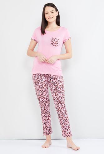 MAX Flat Knit Cap Sleeves Top with Printed Pyjamas