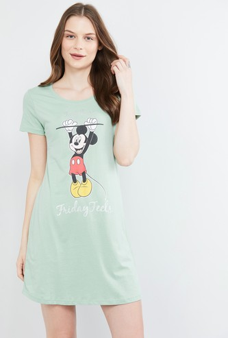 MAX Mickey Mouse Print Cap Sleeves Chemise