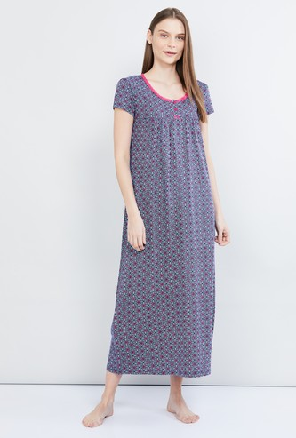 MAX Printed Cap Sleeves Gown