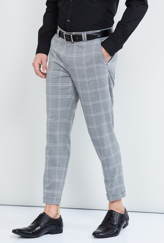 MAX Checked Tapered Cropped Trousers