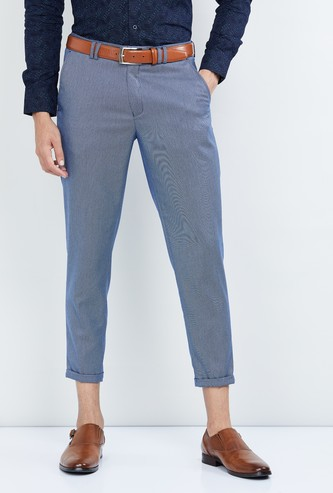 MAX Textured Carrot Fit Cropped Casual Trousers