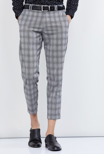 MAX Checked Slim Fit Cropped Trousers