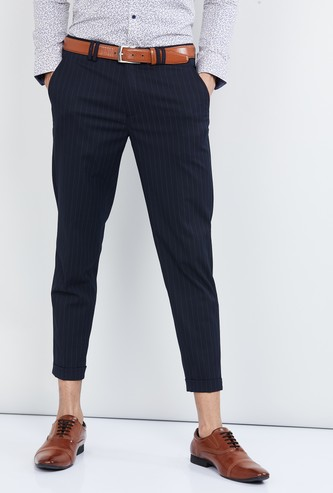 MAX Striped Slim Fit Cropped Trousers