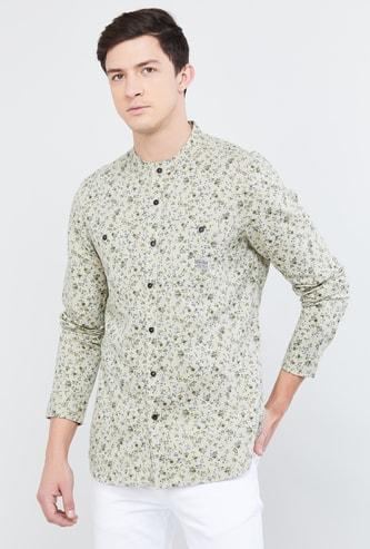 MAX Printed Band Collar Casual Shirt