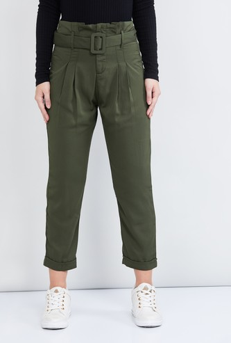MAX Solid Pleated Cropped Trousers