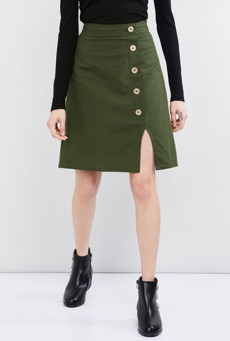 MAX Solid Button Down A-line Skirt