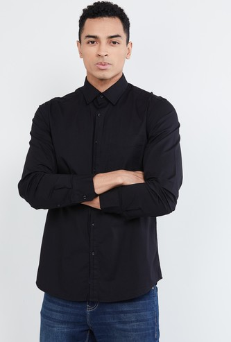 MAX Solid Full Sleeves Smart Fit Casual Shirt