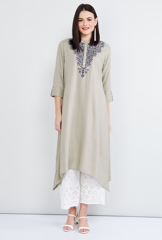 MAX Embroidered Asymmetric Hem Kurta