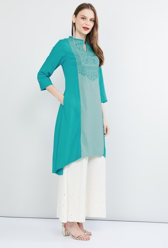 MAX Embroidered Kurta with Roll-Up Tab Sleeves