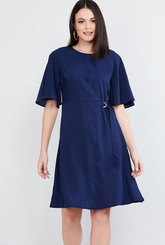MAX Solid A-line Dress with Tie-Up Detail