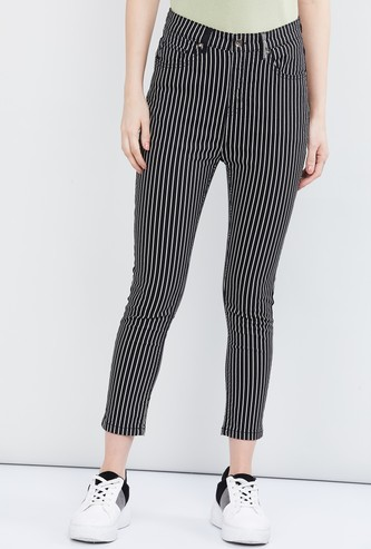 MAX Striped 5-Pocket Cropped Pants