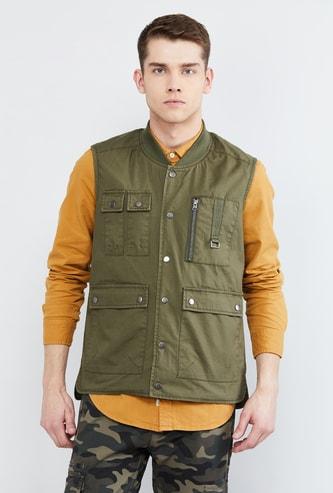 MAX Solid Sleeveless Jacket
