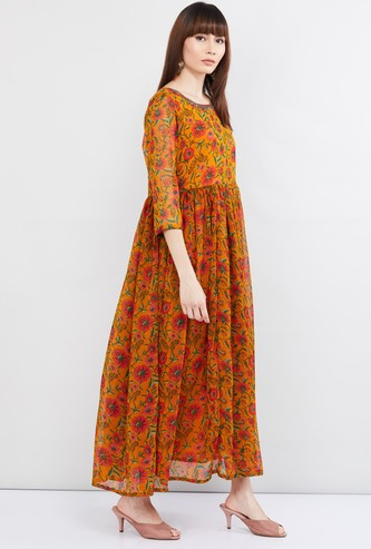 MAX Floral Print Three-quarter Sleeves Maxi Dress