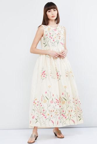 MAX Embroidered Sleeveless Maxi Dress