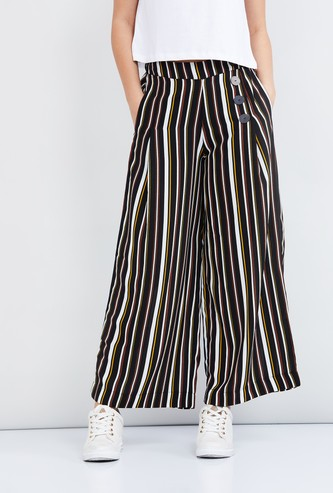MAX Striped Palazzo Pants with Insert Pockets