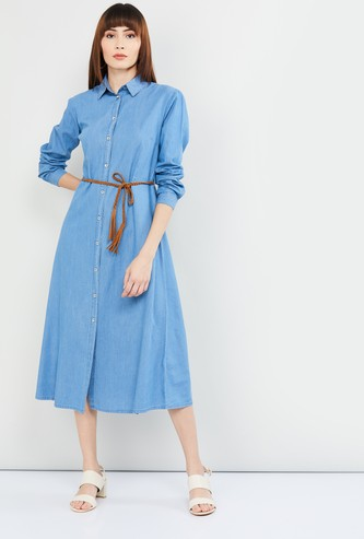 MAX Solid Shirt Dress with Tie-Up