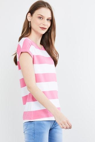 MAX Striped Cap Sleeves T-shirt