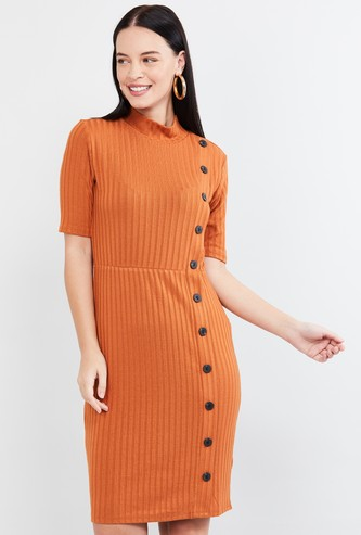 MAX Ribbed Bodycon Dress with Asymmetrical Placket