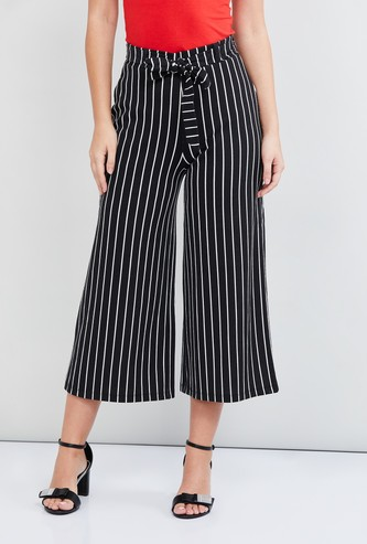 MAX Striped Culottes with Tie-Up Detail