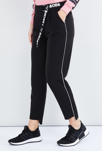 MAX Solid Cropped Trousers with Belt