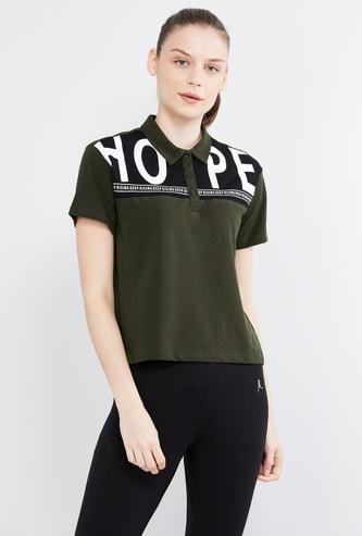 MAX Typographic Print Polo T-shirt