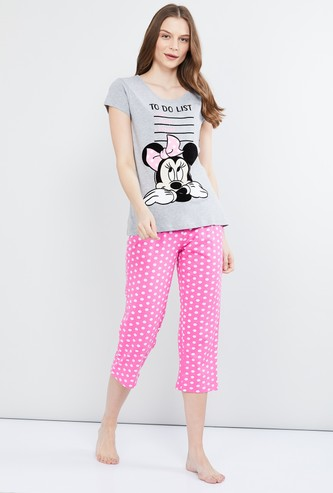 MAX Minnie Mouse Print T-shirt with Capris