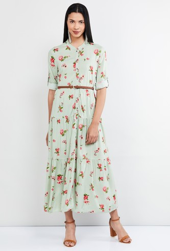 MAX Floral Print Three-quarter Sleeves Maxi Dress