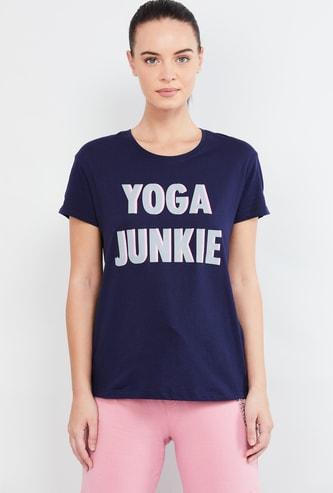 MAX Typographic Print Round-Neck T-shirt