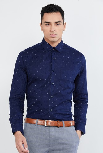 MAX Polka-Dot Print Slim Fit Formal Shirt