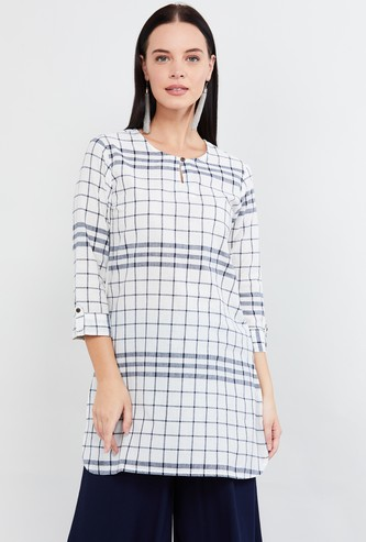 MAX Roll-Up Sleeves Windowpane Checks Straight Kurti