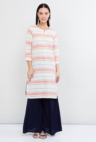 MAX Roll-Up Sleeves Striped Straight Kurta