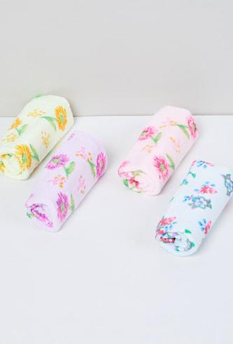 MAX Floral Print Cotton Face Towels - Pack of 4 Pcs.