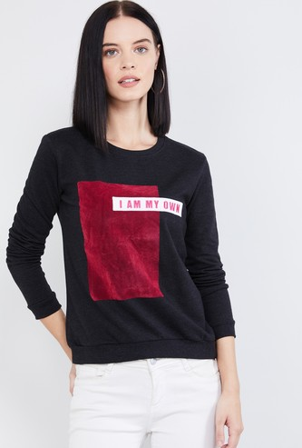MAX Typographic Print Colourblock Sweatshirt
