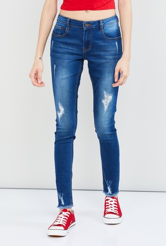MAX Stonewashed Distressed Skinny Fit Jeans