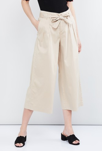MAX Solid Culottes with Tie-Up
