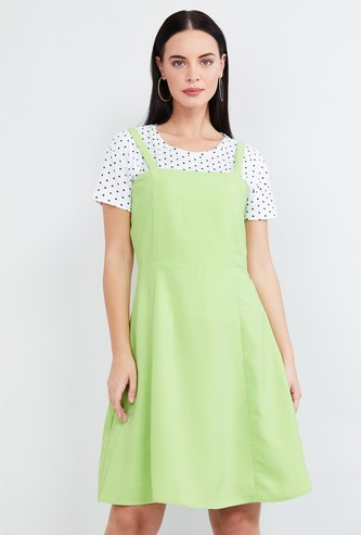 MAX Solid Pinafore Dress with Printed Top
