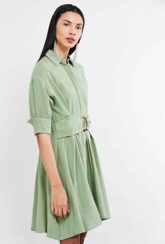 MAX Solid Dress with Belt Detail