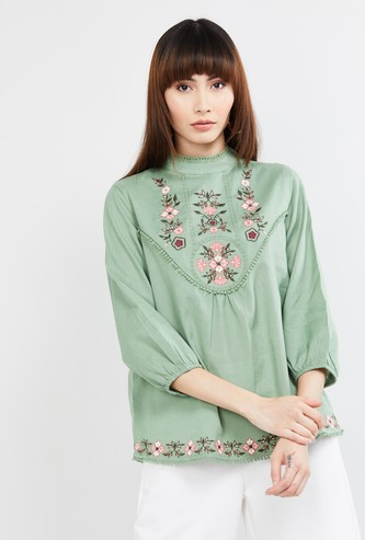 MAX Floral Embroidered Mock Neck Top