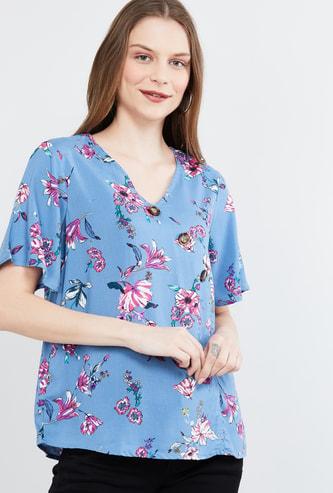 MAX Floral Print V-neck Top