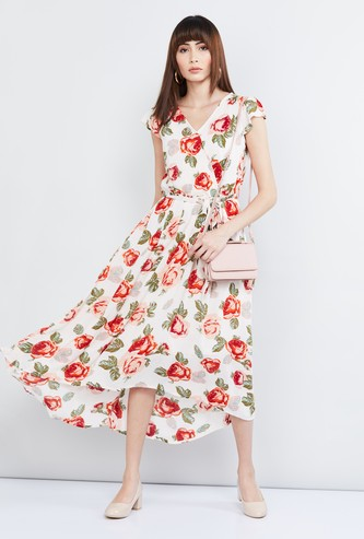 MAX Floral Print Asymmetric Dress