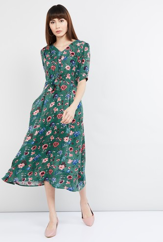 MAX Floral Print Short Sleeves Midi Dress