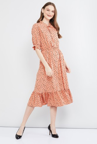 MAX Printed Midi Dress with Flounce Hem