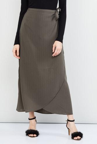 MAX Striped Wrap-Around Maxi Skirt