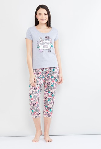 MAX Printed Cap Sleeves T-shirt with Capri