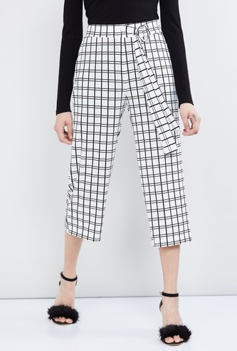 MAX Checked Culottes with Belt
