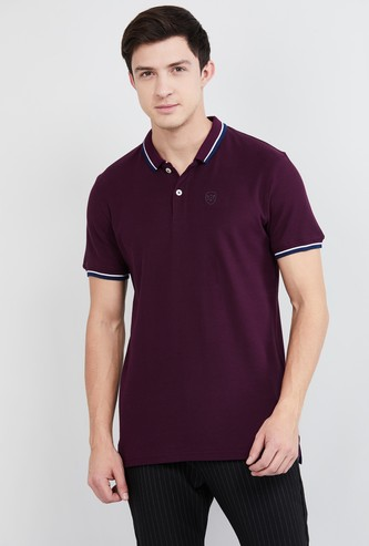 MAX Solid Slim Fit Polo T-shirt with Contrast Tipping