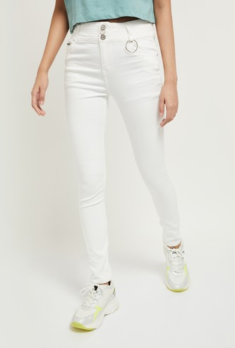 MAX High-Rise Solid Ankle-Length Skinny Jeans